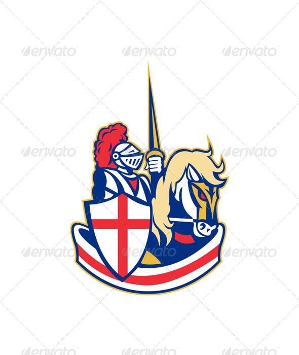 GraphicRiver English Knight Riding Horse England Flag Retro 6845692