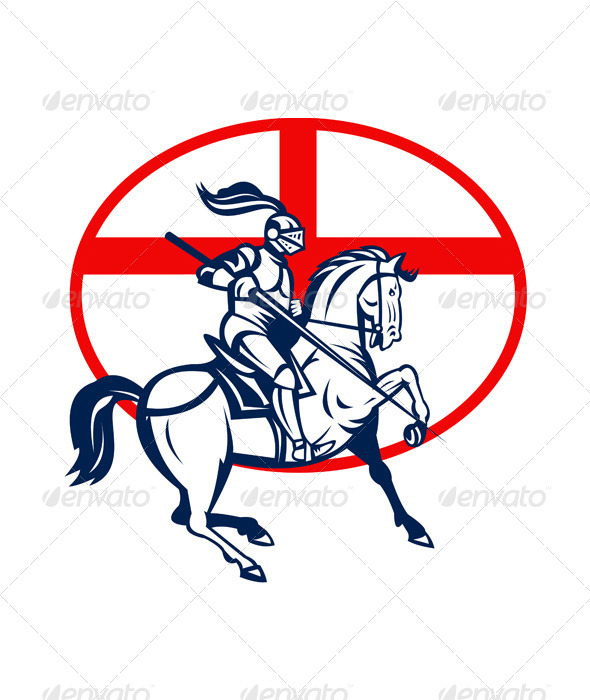 GraphicRiver English Knight Riding Horse England Flag Circle 6845706