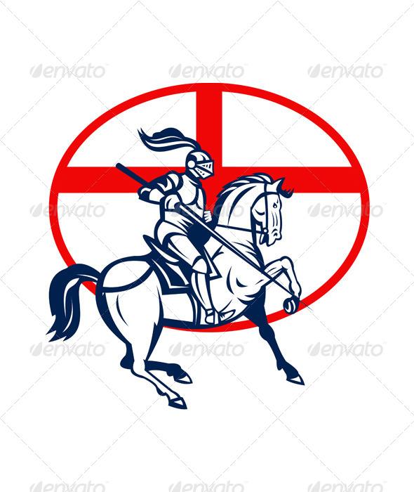 English Knight Riding Horse England Flag Circle