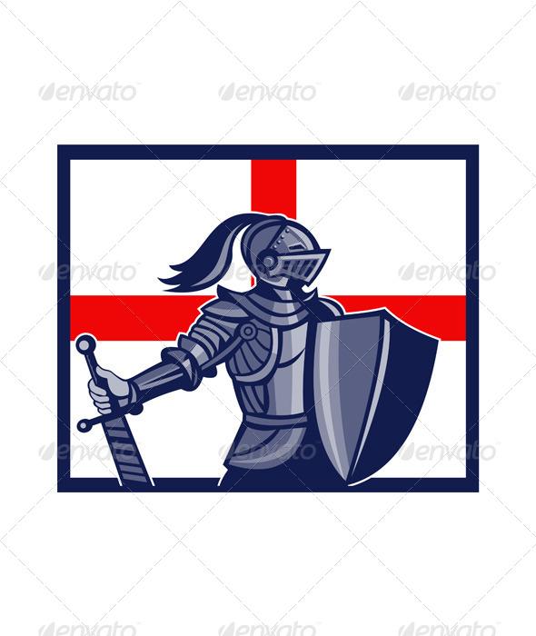 GraphicRiver English Knight Holding Sword England Flag Retro 6845711