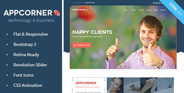 ThemeForest Appcorner Business & Technology HTML Template 6827786