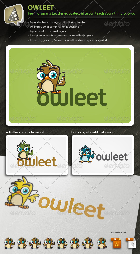 Owleet - Illustrative Owl Mascot Logo For Your Biz - Animals Logo Templates
