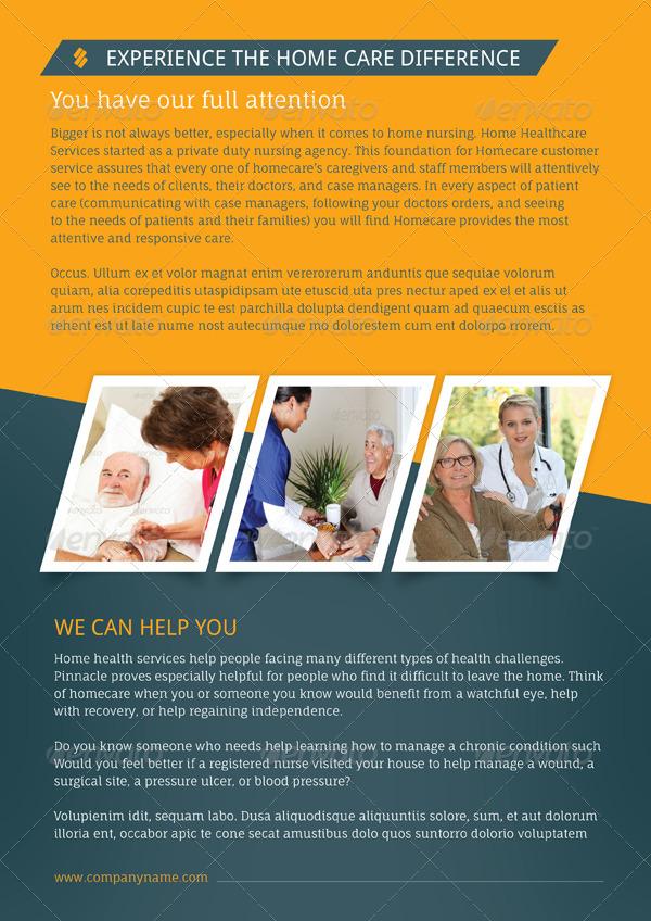 Home care brochure templates by grafilker graphicriver for Home health care brochure templates