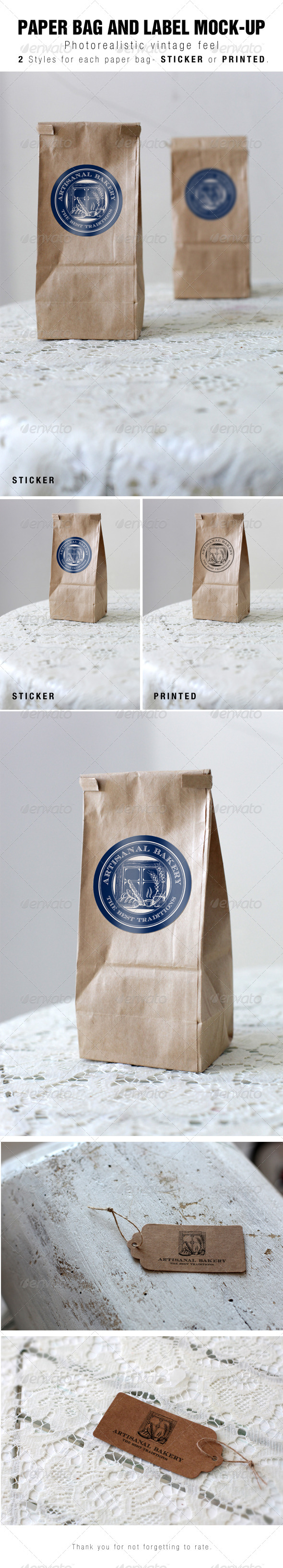 GraphicRiver Paper Bag and Label Mock-up 6830128