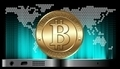 Cryptocurrency coin at the gadget on digital world map background - PhotoDune Item for Sale