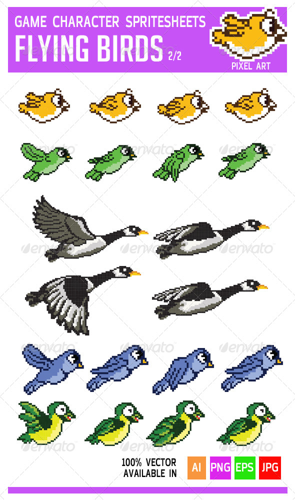 GraphicRiver Flying Bird Game Character Pixel Art Sprite 6847734