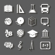 Education Icons on Gray Background