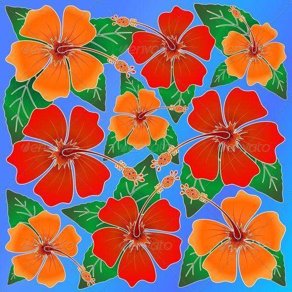 GraphicRiver Hibiscus Batik Pattern 6847822