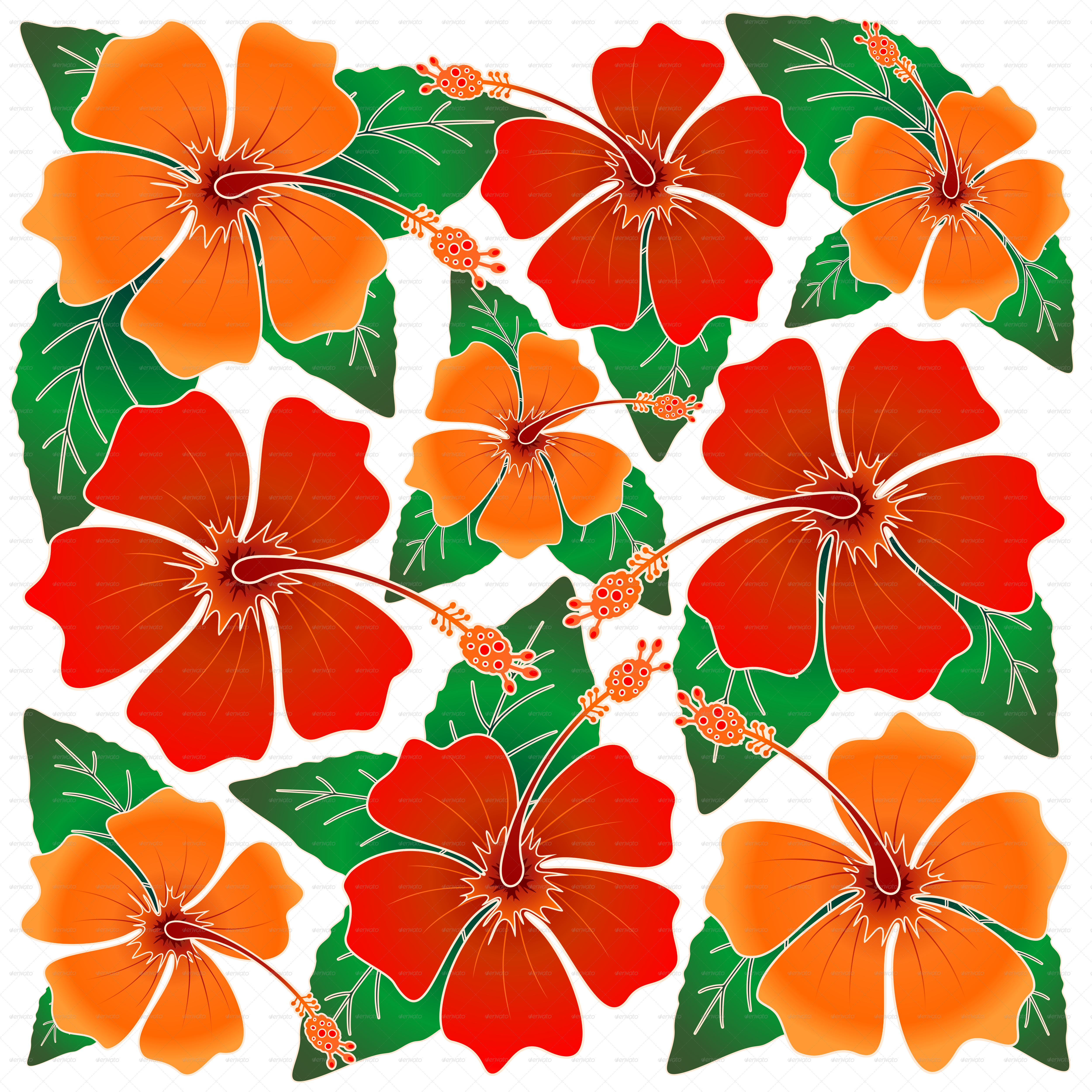 Hibiscus Batik Pattern By Bluedarkat