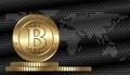 Cryptocurrency coin on digital world map background - PhotoDune Item for Sale