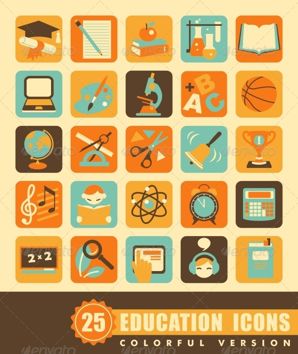 GraphicRiver Flat Education Icons 6848043