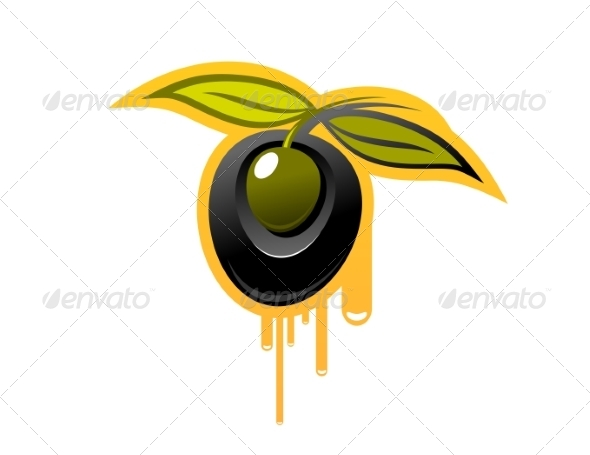 GraphicRiver Shiny Black Olive Dripping Olive Oil 6848046