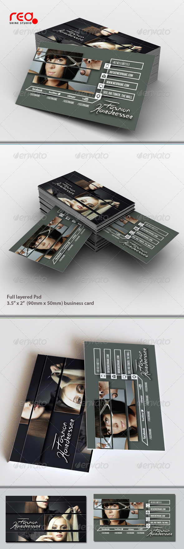GraphicRiver Hairdresser Salon Business Card 6848077