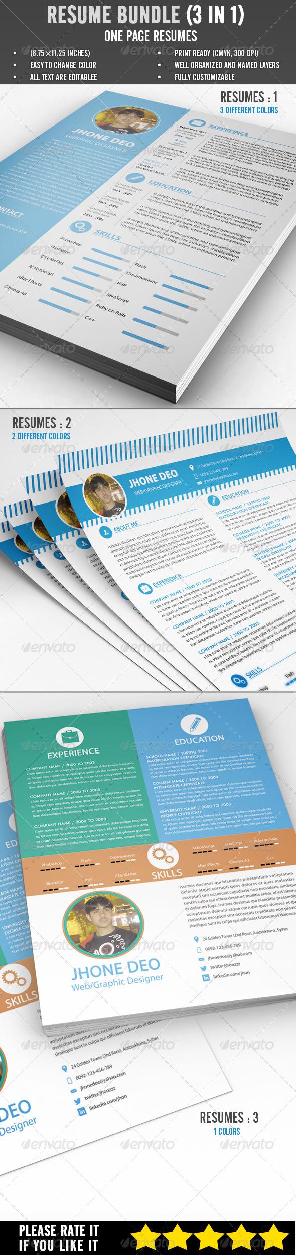 GraphicRiver Resume Bundle 3 in 1 6848302