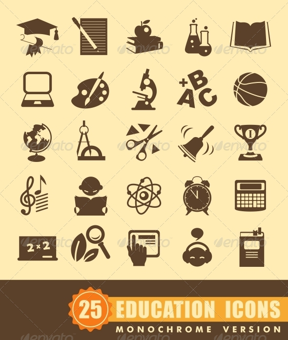 GraphicRiver Flat Education Icons 6848341