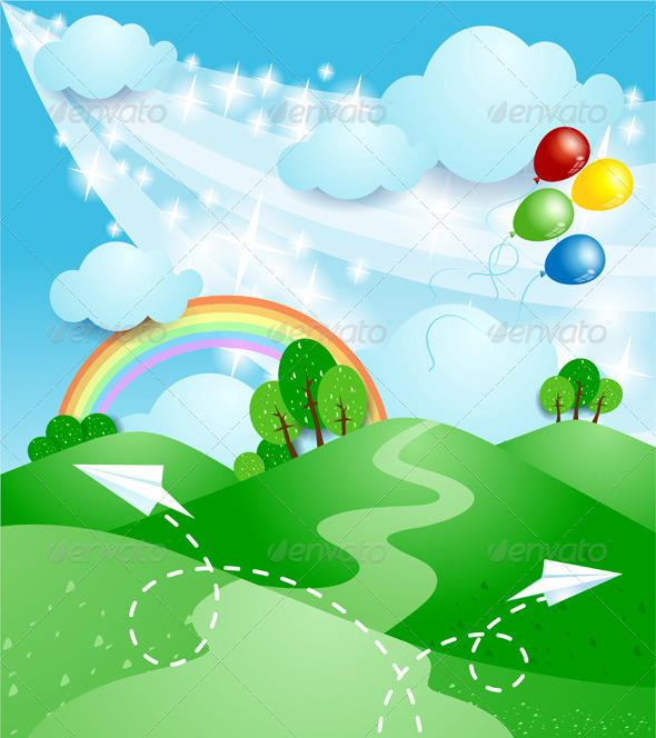 GraphicRiver Spring Background with Rainbow 6848444
