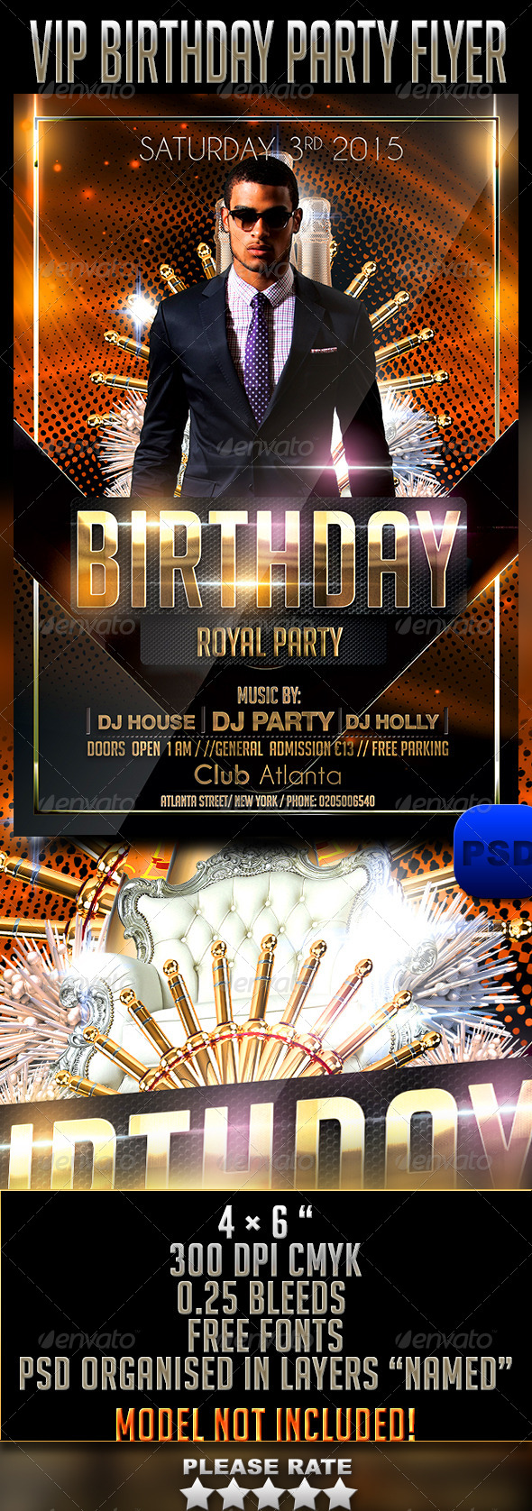 GraphicRiver VIP Birthday Party Flyer 6848821
