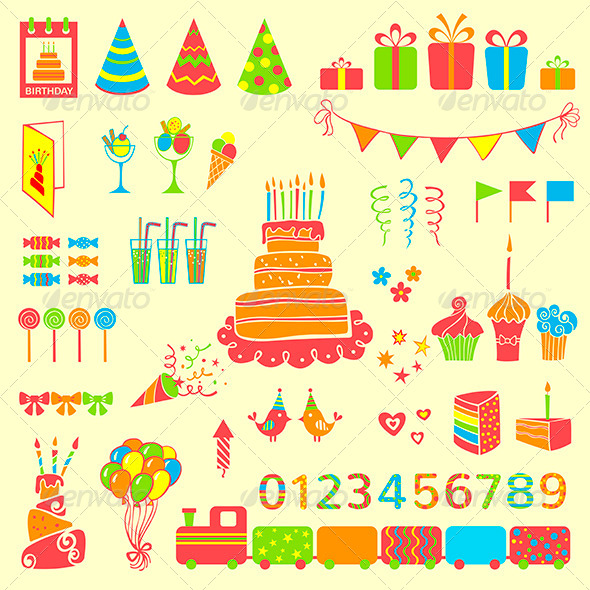 GraphicRiver Set of Vector Birthday Elements 6848905