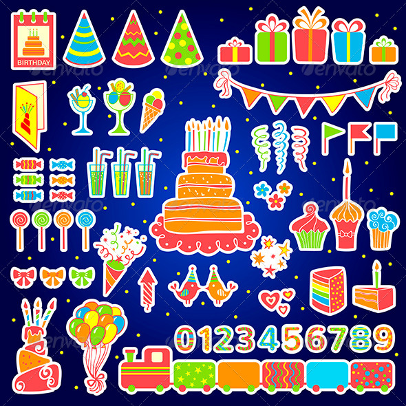 GraphicRiver Set of Birthday Elements 6848961