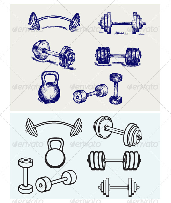 Dumbbells Icons GraphicRiver