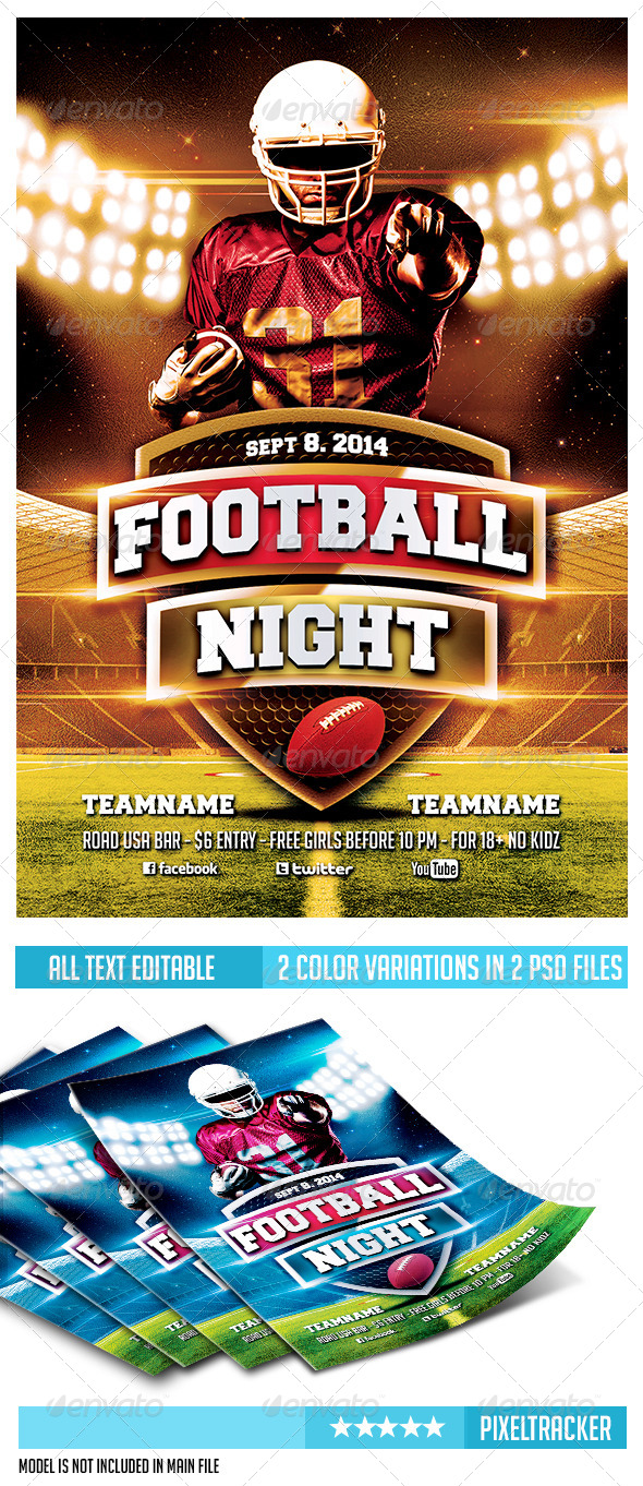 GraphicRiver Football Night Flyer Template 6850103