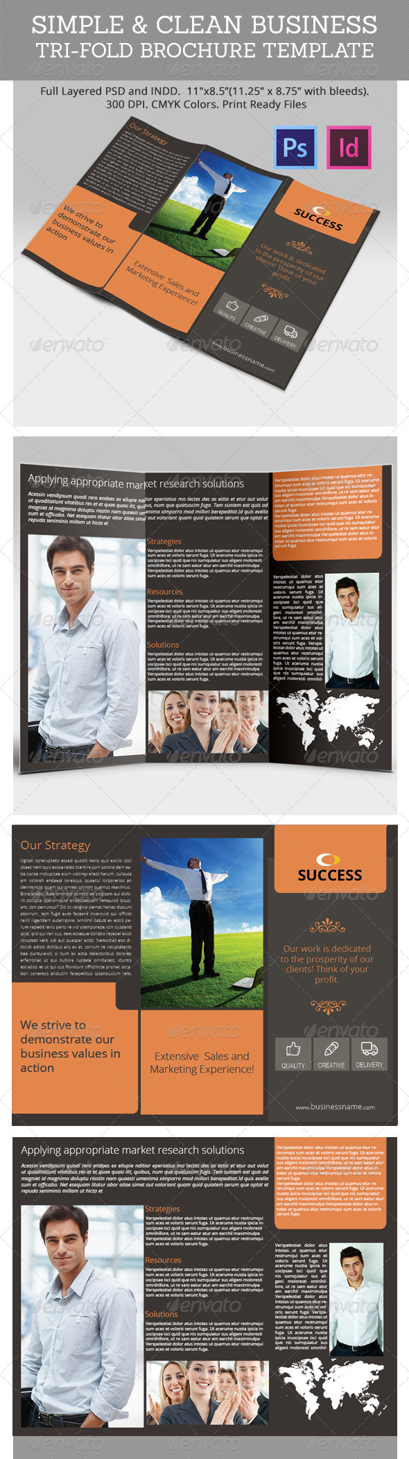 Simple & Clean Business Tri-Fold Brochure Template