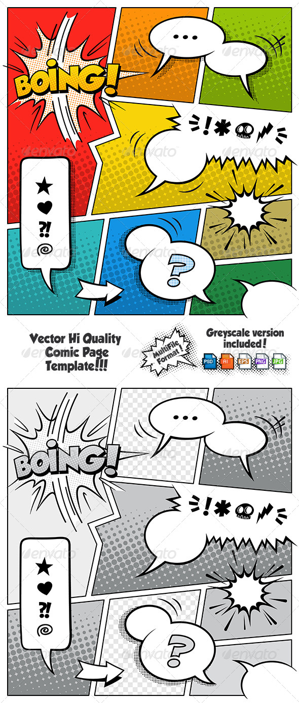 GraphicRiver Color Comic Book Page Template 6850132