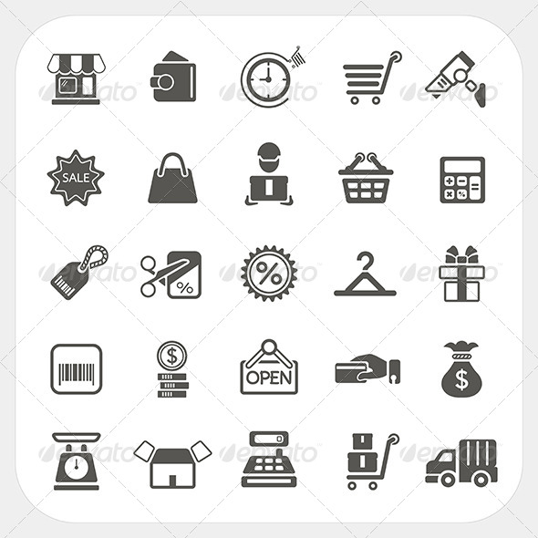 GraphicRiver Shopping and Finance Icons Set 6850351