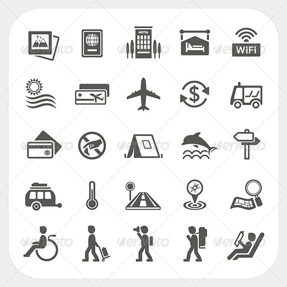 GraphicRiver Travel and Vacation Icons Set 6850376