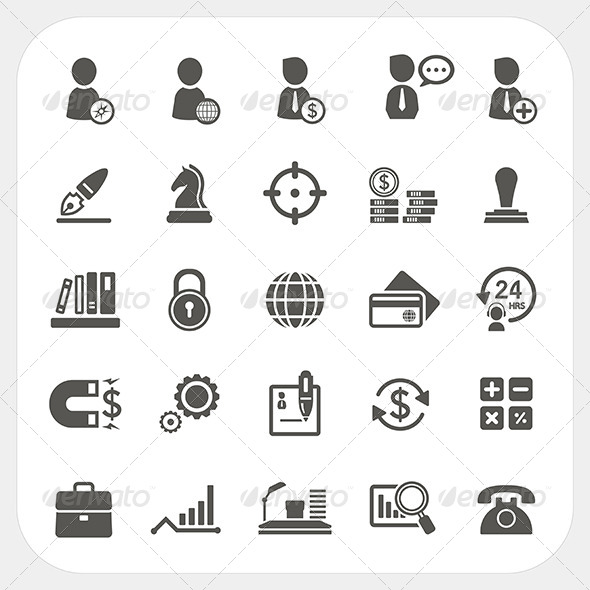 GraphicRiver Business Human Resource and Finance Icons Set 6850383