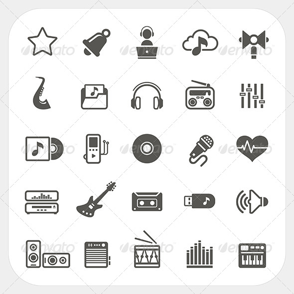 GraphicRiver Music and Media Icons Set 6850490