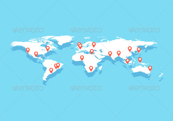 GraphicRiver World Map With Big Cities Vector 6837359