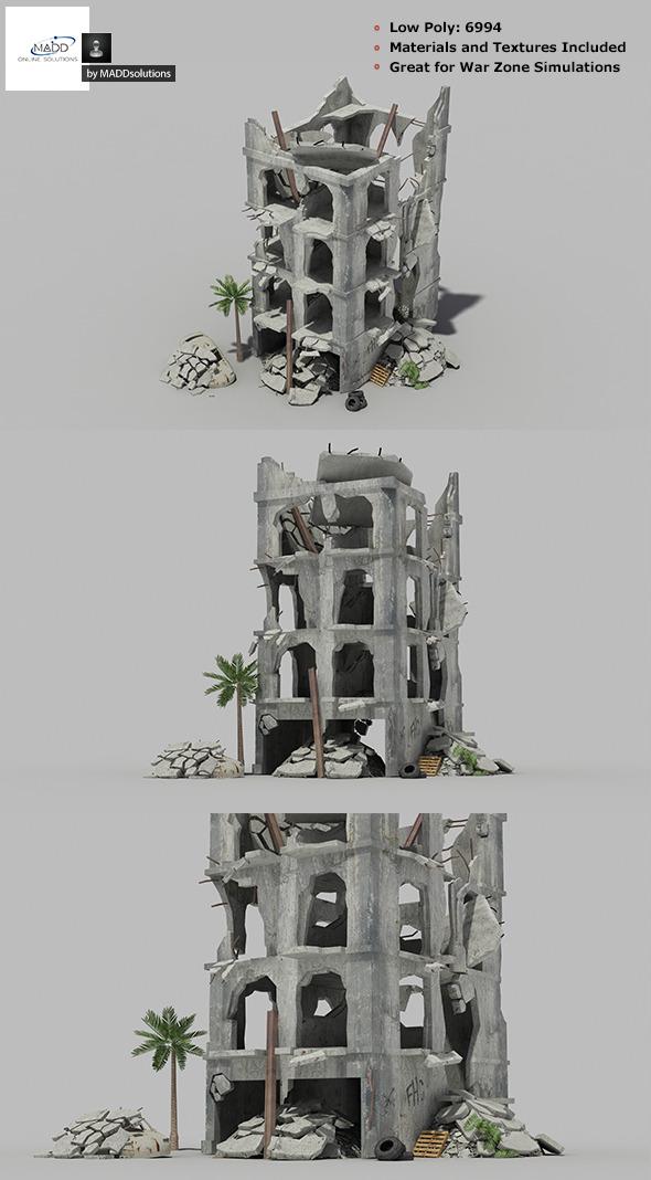 3DOcean Low Poly Warzone Wrecked Building 1 6852083