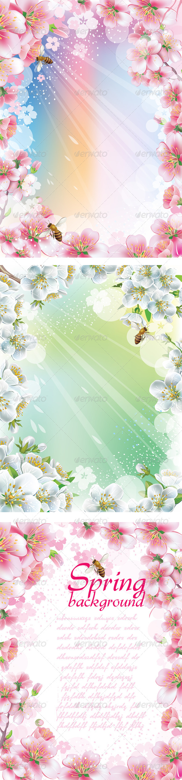 GraphicRiver Set of Spring Backgrounds with Cherry Blossom 6852309