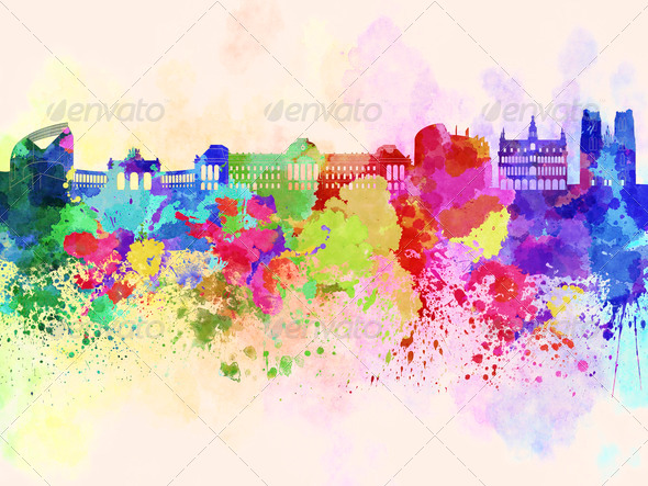 Brussels skyline in watercolor background - Stock Photo - Images