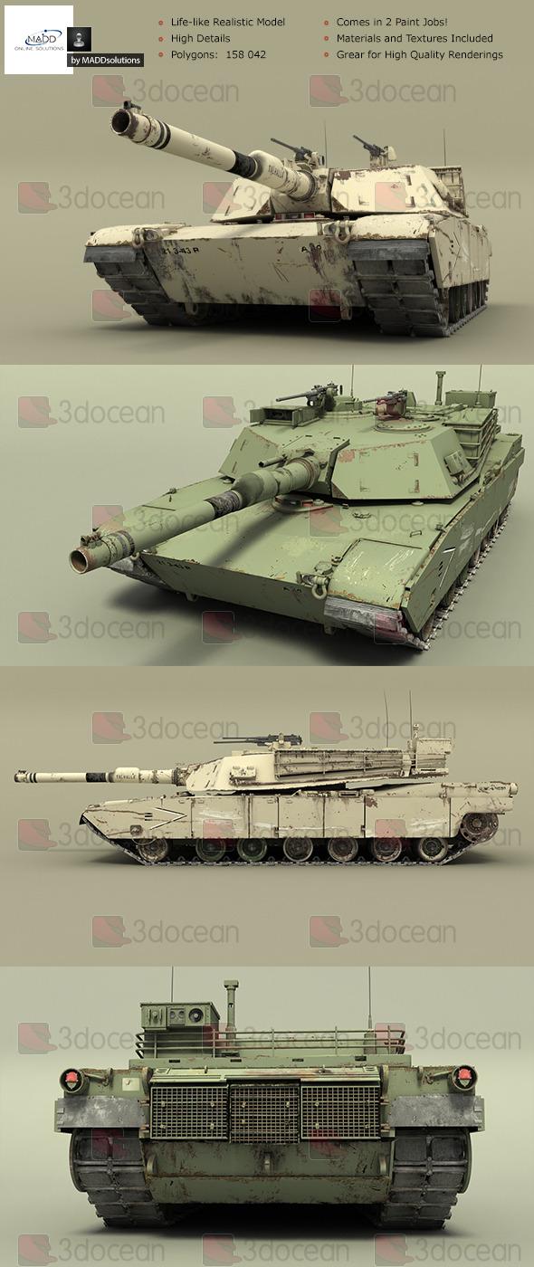 3DOcean High Detail Realistic Tank M1A1 Abrams 6839245