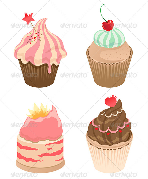 GraphicRiver Set of Four Cupcakes 6852768
