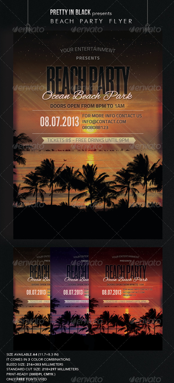 GraphicRiver Beach Party Flyer 6852884