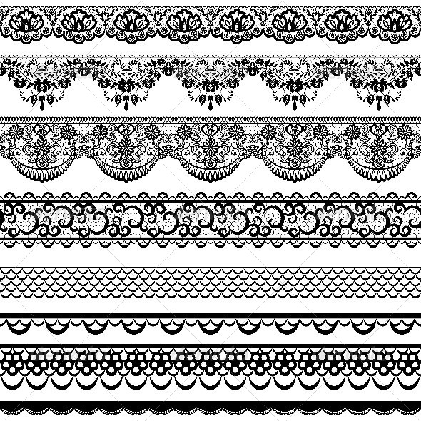 GraphicRiver Set of Black Lace Borders 6852897