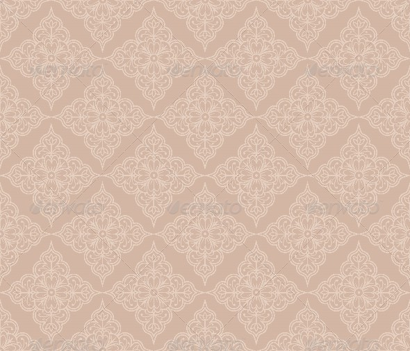 Floral Beige Seamless Pattern in Retro Style