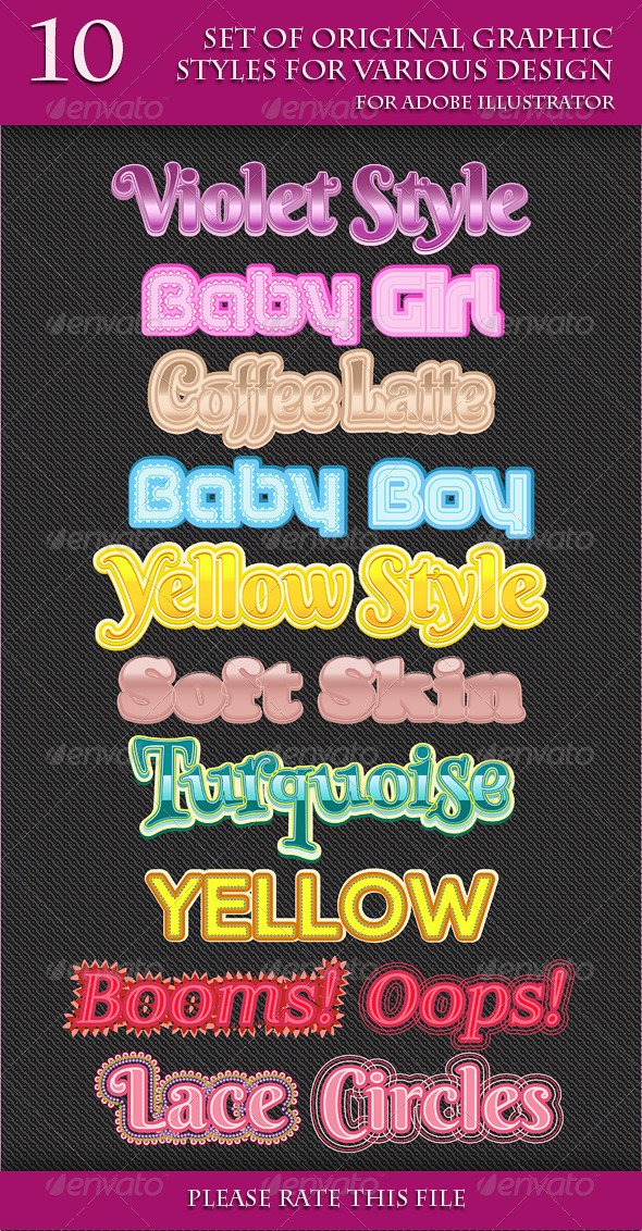GraphicRiver Set of Original Graphic Styles for Various Design 6853233