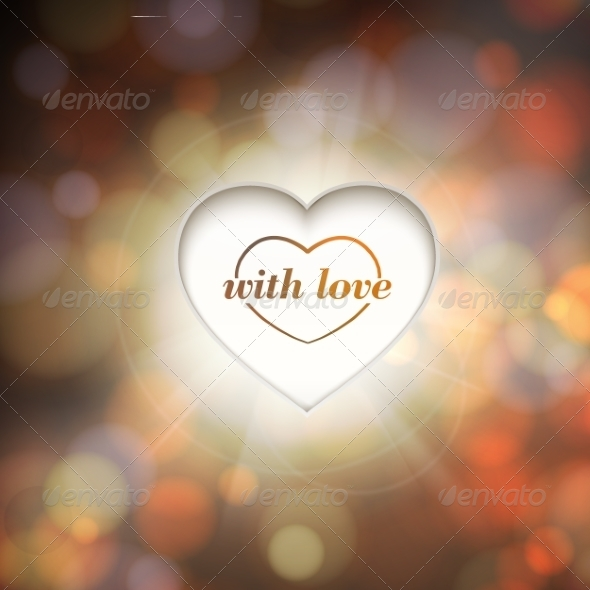 GraphicRiver Contour Heart and Bokeh Background 6853329