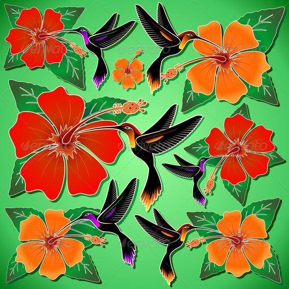 GraphicRiver Hummingbird and Hibiscus Batik Pattern 6853532