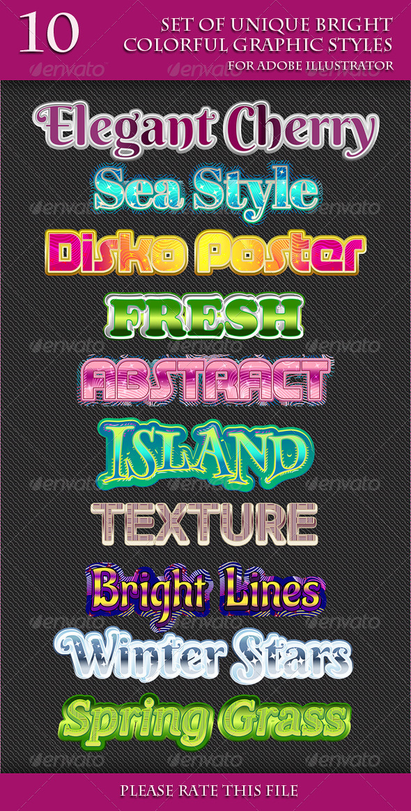 GraphicRiver Set of Unique Bright Colorful Graphic Styles 6854296