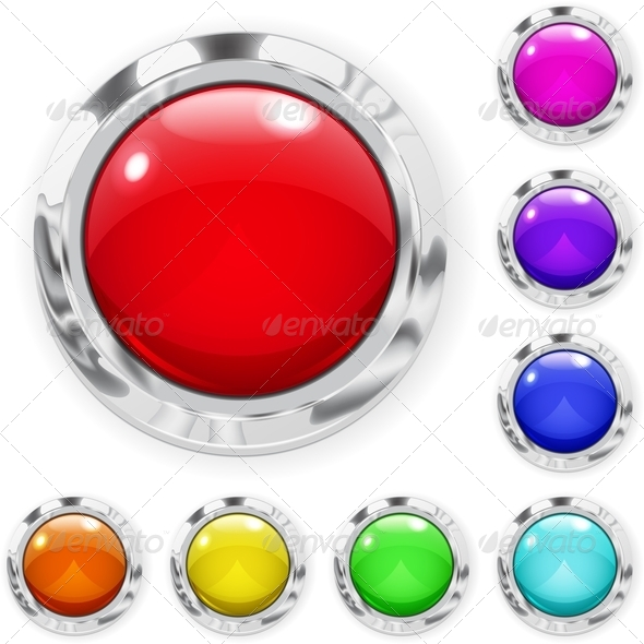 GraphicRiver Set of Multicolored Glass Buttons 6854661