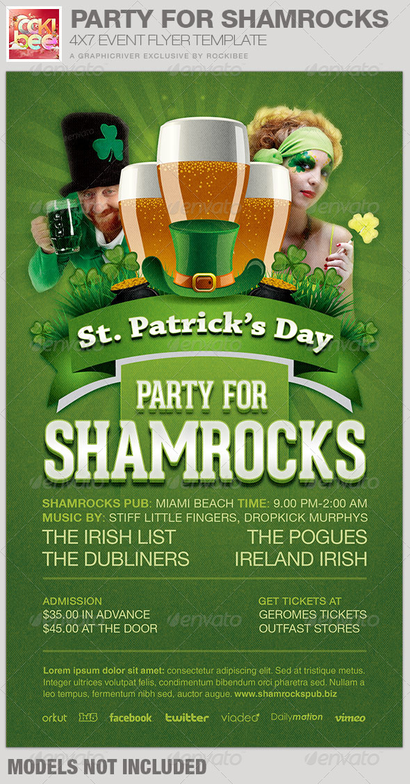 GraphicRiver Party For Shamrocks St Patrick s Flyer Template 6854826