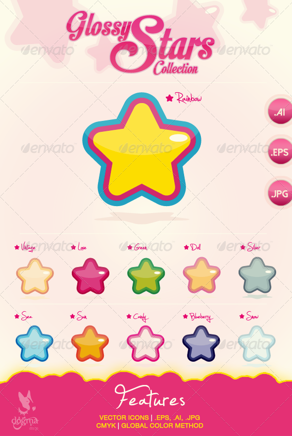 GraphicRiver Vector Glossy Stars Icons Collection 6855225