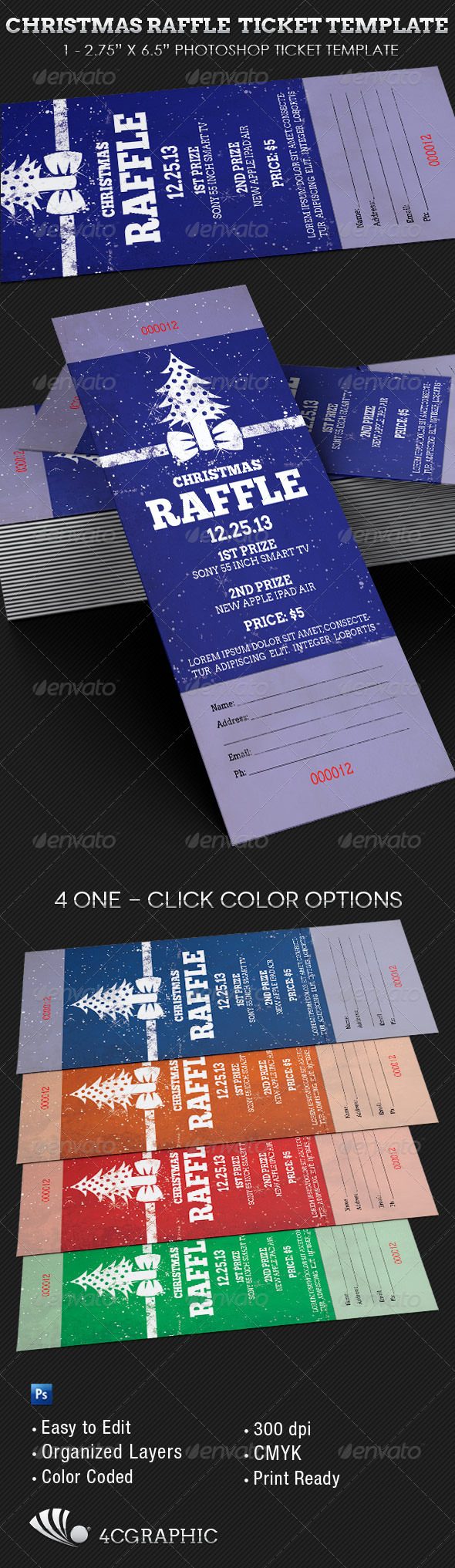 Christmas Raffle Ticket Template  - Events Flyers
