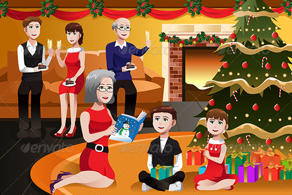 GraphicRiver Family Having a Christmas Party 6855379