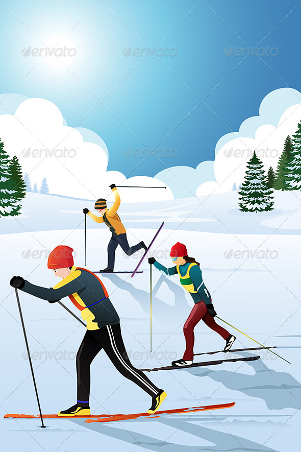 GraphicRiver Skiers in the Winter 6855547